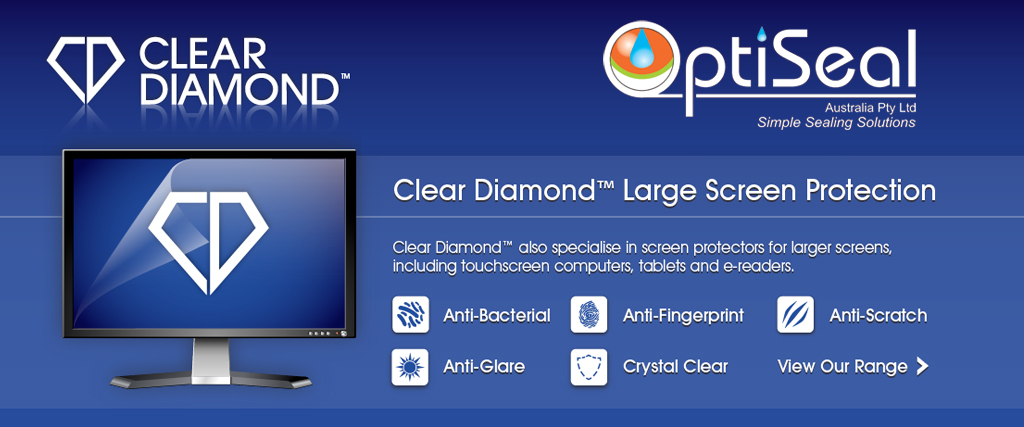 Clear Diamond antibacterial large screen protectors including touch screen computers, laptops and tablets