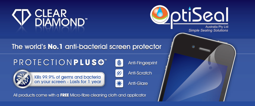 Clear Diamond antibacterial screen protectors for mobile devices, e readers